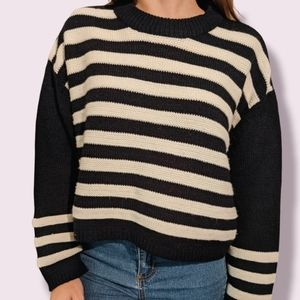 Topshop Cozy Striped Crew Neck Sweater
